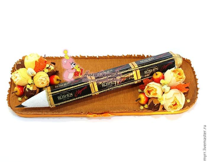 Подарок учителю на 1 сентября : «Классный журнал» из конфет Крестик