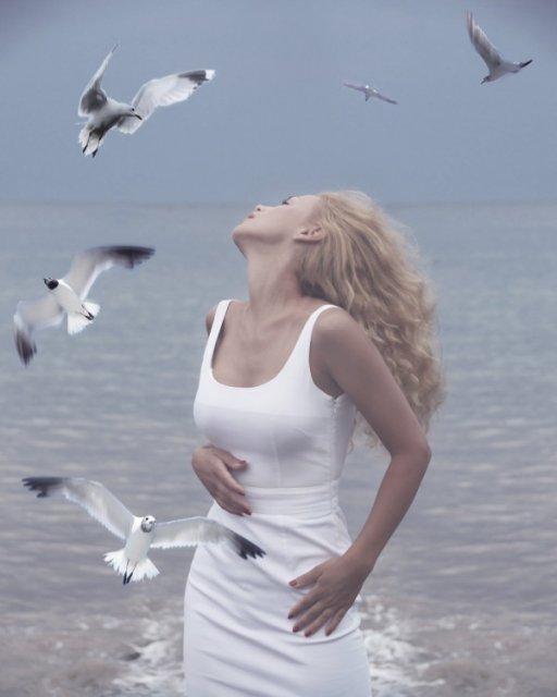 женщина и чайки (412x540, 132Kb)