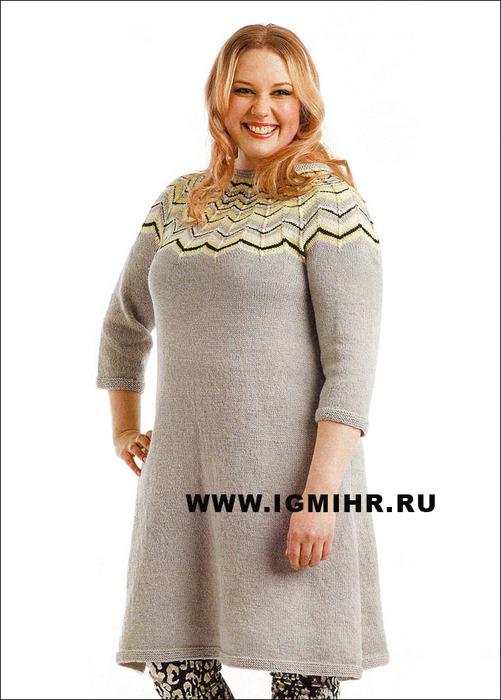 Для пышечек! Платье с круглой кокеткой, от финских дизайнеров. Спицы