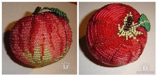 Зеленый яблочный огрызок из бисера.  Необходимые материалы.  Мастер-класс плетения огрызка.