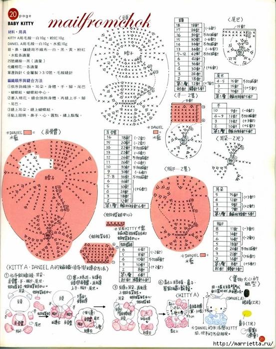 Hello Kitty! Вяжем японскую кошечку. Отличный журнал со схемами (19) (553x700, 347Kb)