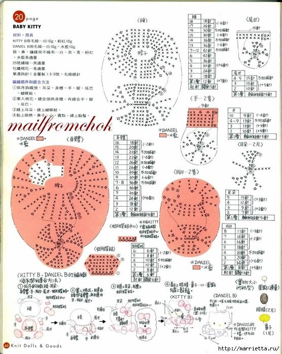 Hello Kitty! Вяжем японскую кошечку. Отличный журнал со схемами (44) (556x700, 342Kb)