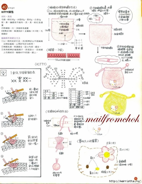 Hello Kitty! Вяжем японскую кошечку. Отличный журнал со схемами (49) (543x700, 254Kb)