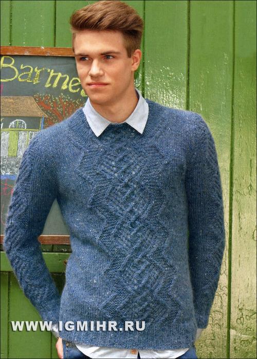 Молодежный пуловер джинсового цвета с тамбурным узором, от Verena. Спицы