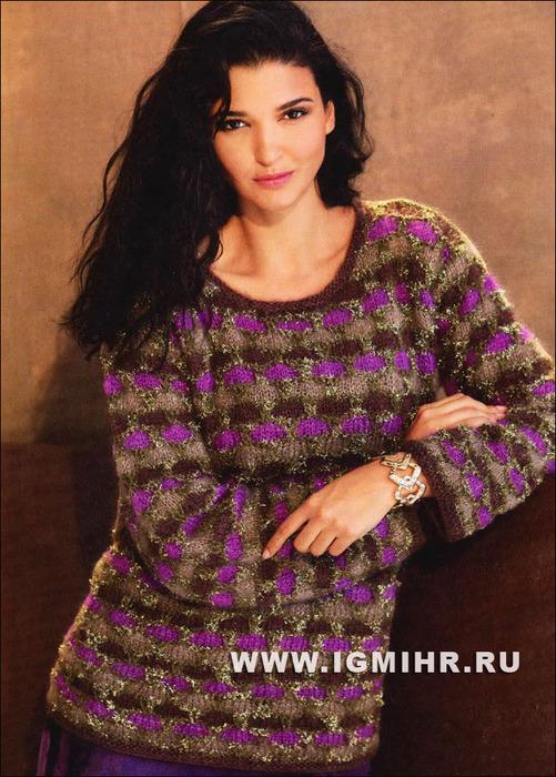 Пуловер с трехцветным узором из сот. Спицы