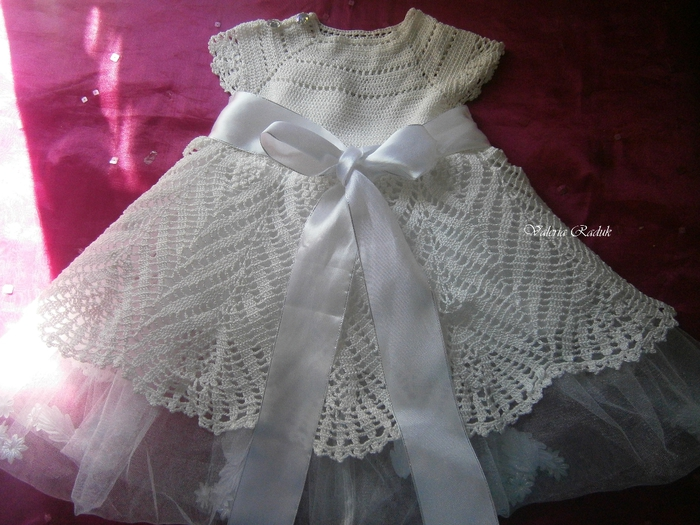 Вязание крючком крестильного платья для девочек 573