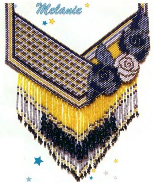 Колье с розами и подвесками.  Довольно сложное украшение, сплетено в мозаичной технике плетения, это одна из самых...