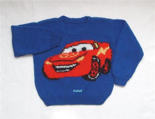 Как связать мальчику свитер с машинками