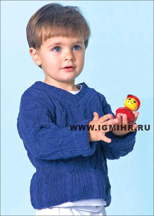 Синий узорчатый пуловер для мальчика 1-1,5 лет. Спицы