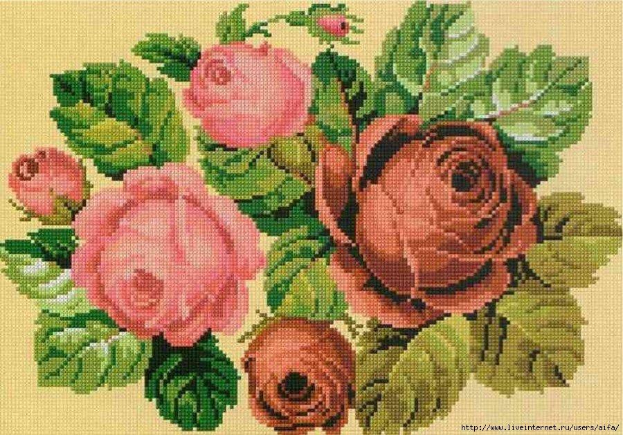 Розы под старину Вышивка