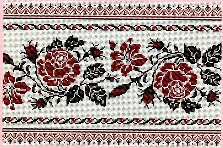 Схема вишивки хрестиком весільного рушника під ноги
