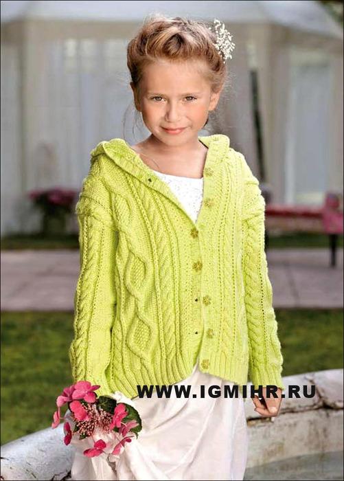 Выразительные узоры для детской одежды. Жакет для девочки 4-13 лет. Спицы