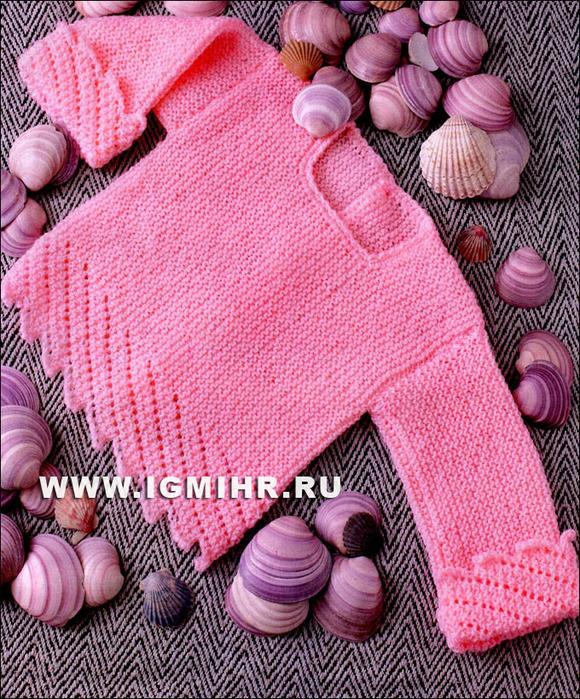 Детская кофточка абрикосового цвета для малышки 3-6 месяцев. Спицы
