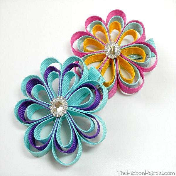 Как сделать украшение цветок из ленты