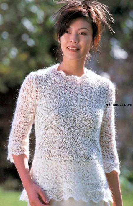 ажурный-пуловер-спицами (451x700, 335Kb)