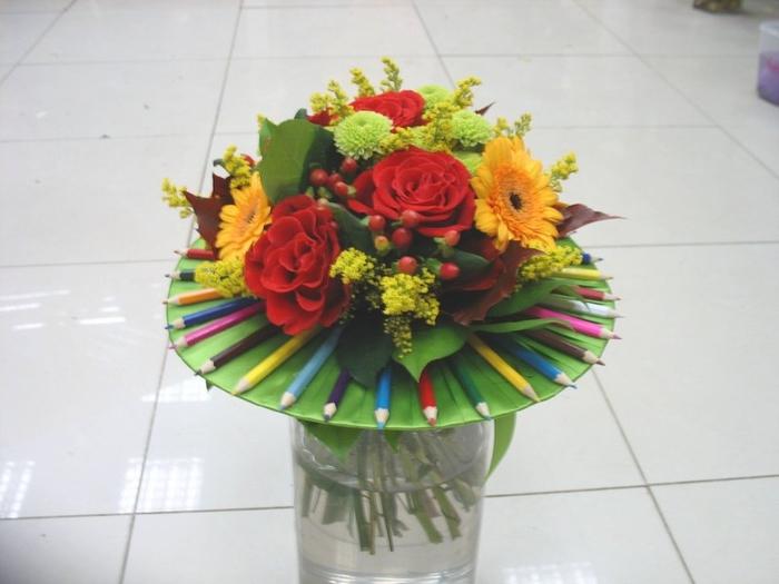 Букет из садовых цветов на 1 сентября своими руками