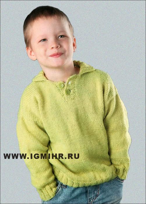 Светло-зеленый пуловер-поло для мальчика 5-6 лет. Спицы