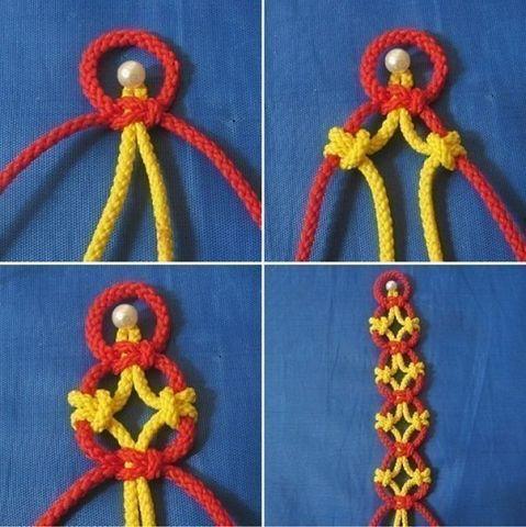 Цепочка из японских узлов Цепочка из японских узлов представляет собой комбинацию из квадратных узлов и узелков фриволите. (479x480, 47Kb)