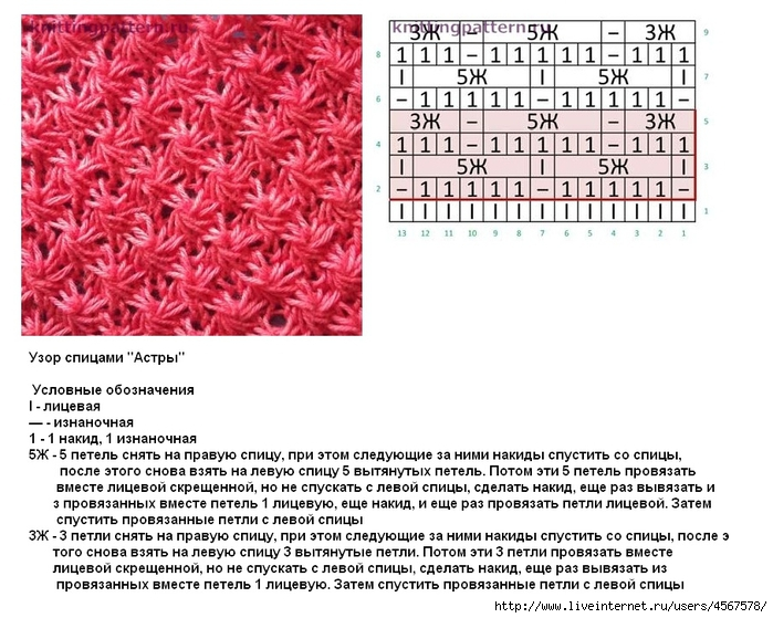 Схемы и описания вязания узоров звездочек спицами