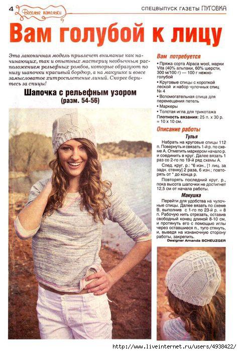 Вязание спицами для женщин модные модели шапок 35