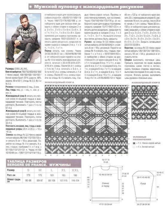 Вязание мужских свитеров жаккардом схемы