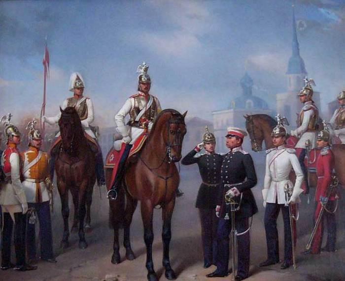 01 Группа офицеров и солдат Кавалергардского Ея Величества полка. (700x572, 47Kb)