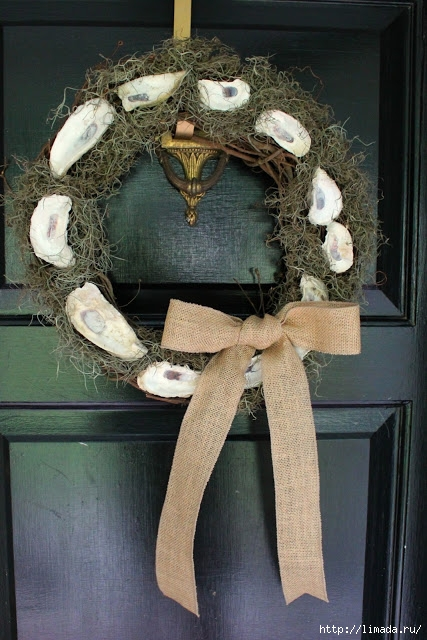 Oyster Wreath with burlap bow (427x640, 218Kb)