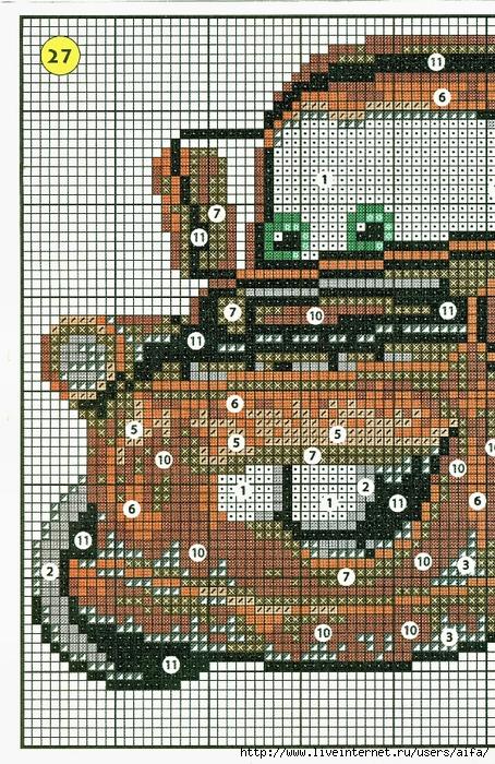 Схема тачек для вышивки 689