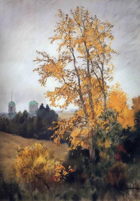 Осенний пейзаж с церковью. 1890-е (488x700, 63Kb)