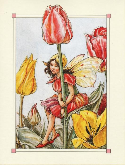 Десять винтажных карточек со сказочными феями на фоне цветов.