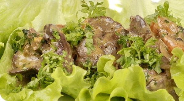 Рецепты салата печень с грибами