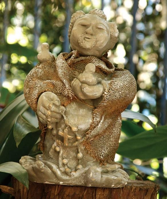 Декорирование гипсовой статуэтки. Святой Франциск и мешковина (1) (584x697, 274Kb)