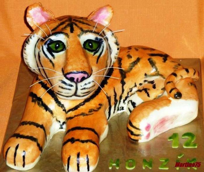 ТИГР - 3D торт из марципана. Мастер-класс (20) (700x589, 297Kb)