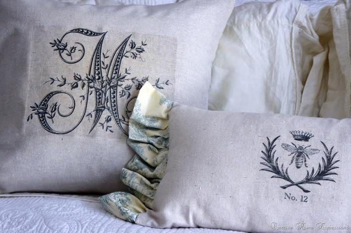 Монограммы на подушках. Шаблоны для переноса на ткань (4) (700x465, 332Kb)