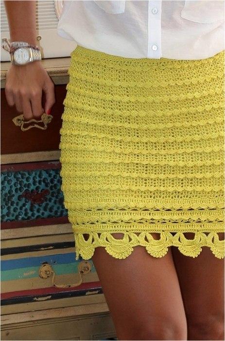 Крючок юбка плотным узором