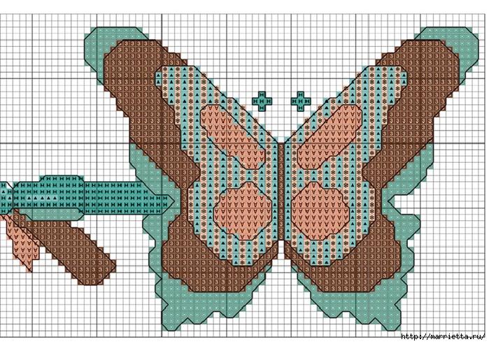 Вышивка крестом. БАБОЧКИ на полотенце (2) (700x492, 364Kb)