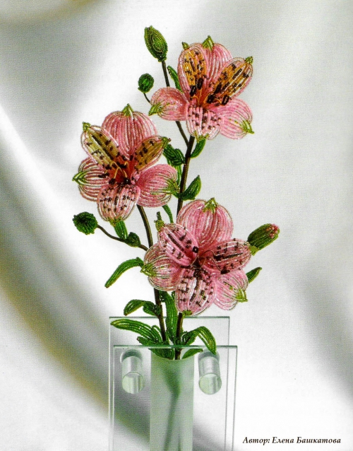 Цветы из бисера, французская техника плетения