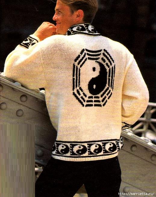 Два вязаных спицами мужских пуловера (10) (518x655, 258Kb)