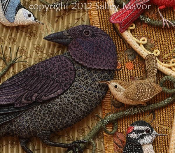 Aves del paraíso de fieltro con bordado (2) (600x525, 394Kb)