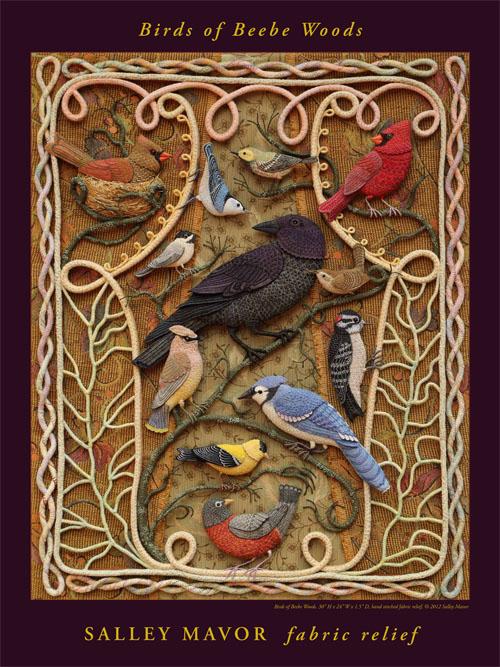 Райские птицы из войлока с вышивкой (4) (500x667, 362Kb)