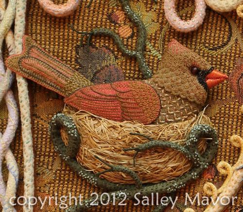 Райские птицы из войлока с вышивкой (16) (500x437, 333Kb)