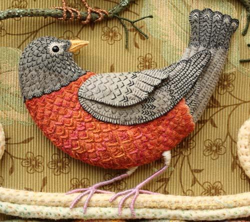 Райские птицы из войлока с вышивкой (26) (500x445, 281Kb)