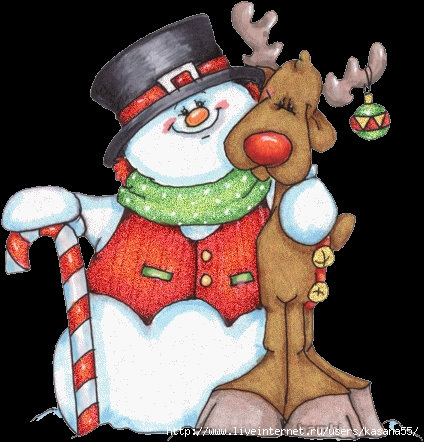 !!!!!!!!HW snowman and reindeer animated (424x442, 136Kb)
