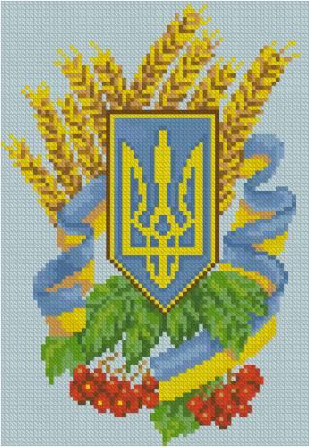 герб Украины вышивка крестом.