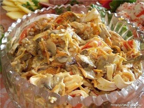 Салат из крабовых палочек с грибами