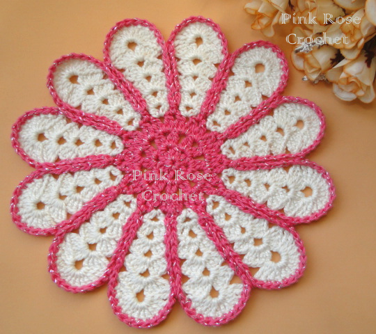 Centrinho Croche Pétalas Margarida Scalloped Crochet Hot Pad Coaster (540x480, 594Kb)