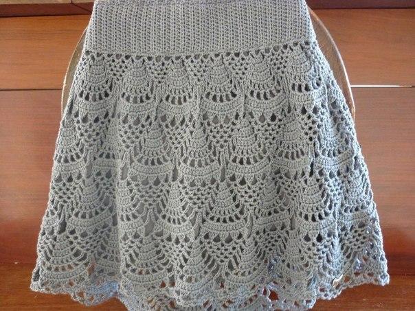 Серая юбка крючком