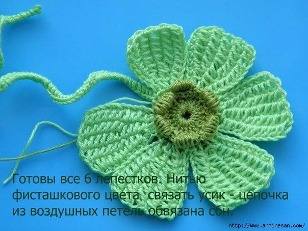突尼斯钩针《阿富汗针》教程:2  花朵(初学者的) - maomao - 我随心动