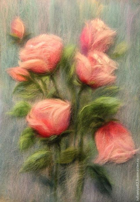 живопись шерстью картины цветы (2) (484x700, 358Kb)