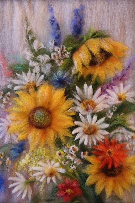 живопись шерстью картины цветы (6) (466x700, 386Kb)